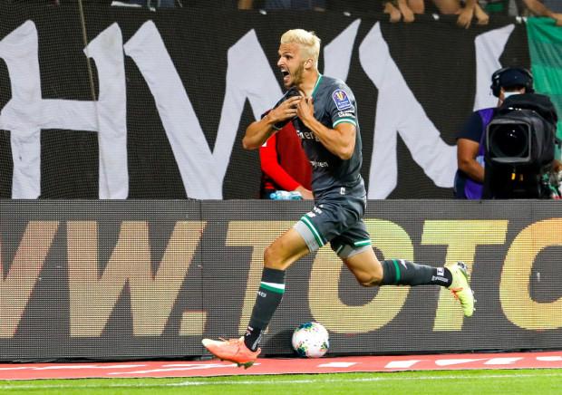 Patryk Lipski po strzeleniu gola dla Lechii Gdańsk w finale Totolotek Puchar Polski 2020.