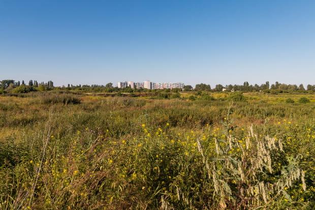 Teren dawnego jeziora Zaspa co najmniej do 2030 - 2040 r. pozostanie formalnie terenem przemysłowym. W oddali widoczny falowiec w Nowym Porcie.
