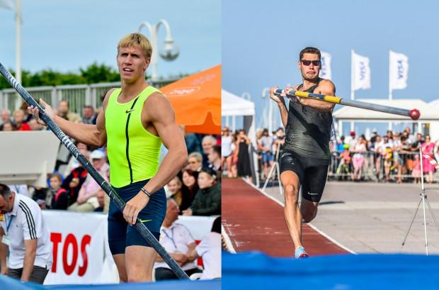 """Piotr Lisek (z lewej) i Paweł Wojciechowski (z prawej) to gwiazdy 33. konkursy """"Tyczki na molo""""."""
