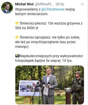 Minister Środowiska zapowiada zaostrzenie kar za śmiecenie w lasach.