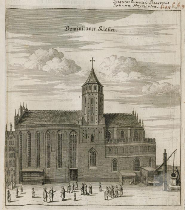 Kościół św. Mikołaja i klasztor dominikanów na rycinie z 1687 r.