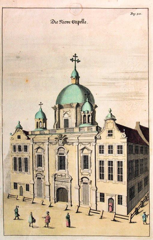 """Kaplica Królewska zwana wówczas """"nową"""" na rysunku z 1687 roku."""