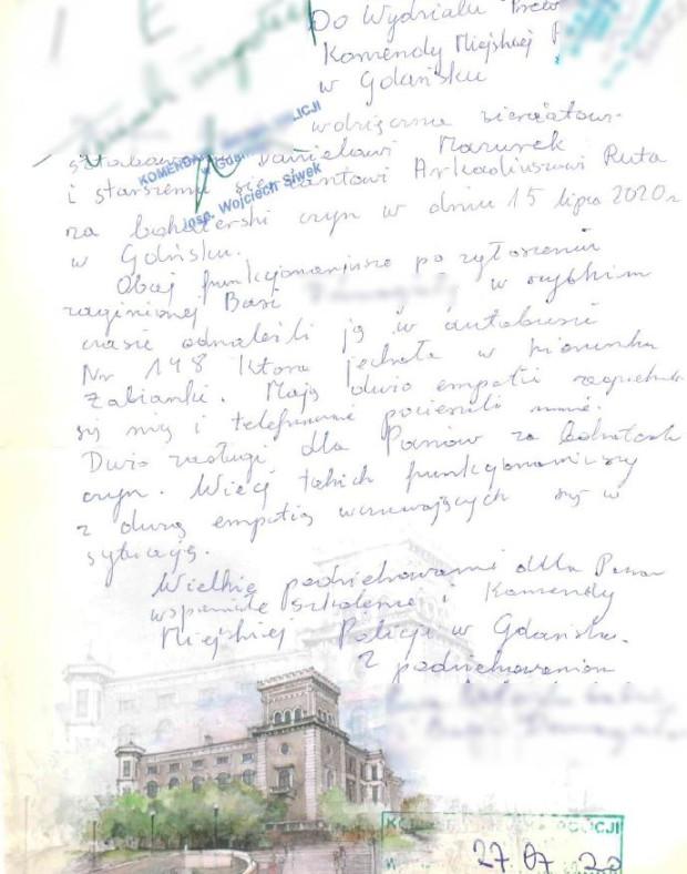 Ręcznie napisany list, jaki trafił do gdańskich policjantów z podziękowaniami od babci ośmiolatki.