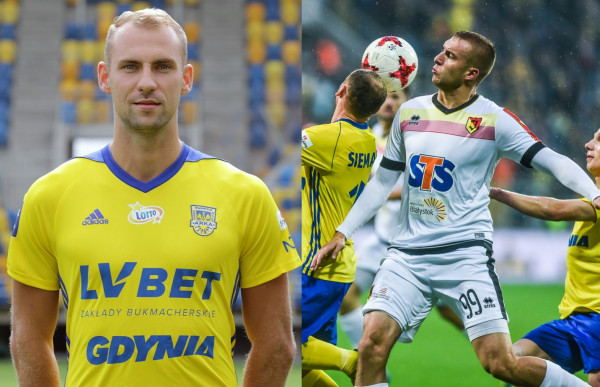 Arkadiusz Kasperkiewicz (z lewej) został już piłkarzem Arki Gdynia. Bartosz Kwiecień (z prawej, biała koszulka) ma nim dopiero zostać.
