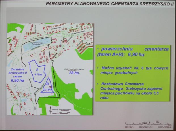 Parametry cmentarza Srebrzysko II. Obecnie dokumentacja sporządzana jest wyłącznie obszaru B. Obszar A i B, gdyby Srebrzysko II było jedyną czynną nekropolią dla nowych pochowków w Gdańsku, pozwalają na zapewnienie miejsca przez ok. 7 lat.