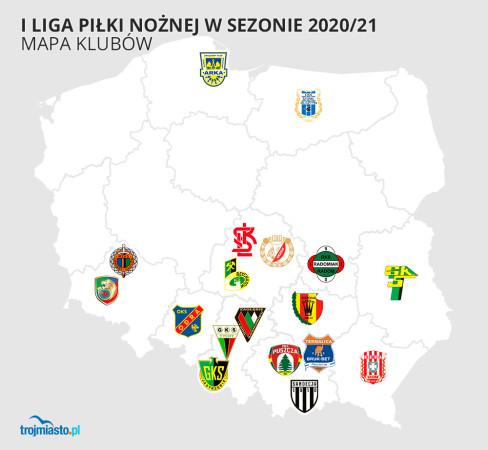 Rozmieszczenie klubów I ligi na mapie Polski.