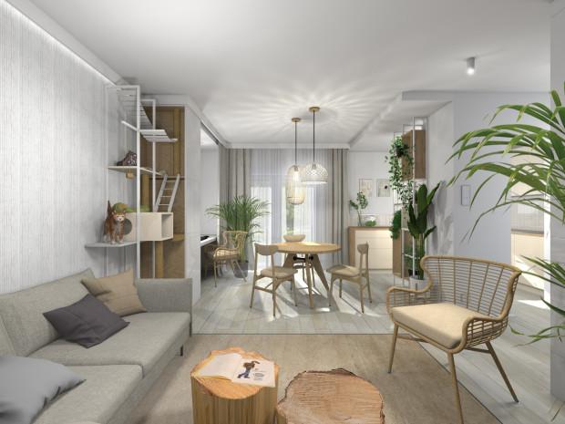 Pierwsza koncepcja aranżacji wnętrza opiera się na połączeniu stonowanych kolorów z drewnem.