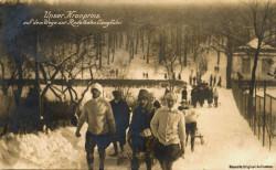 Park na Jaśkowej Dolinie był regularnie odwiedzany przez ważne osobistości ze świata polityki. Na zdjęciu pruski Następca Tronu, książę Wilhelm, który na początku XX wieku wybrał się tam na sanki.