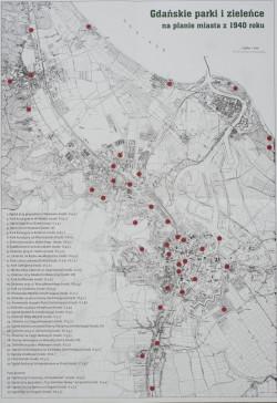 Gdańskie parki i zieleńce na mapie Gdańska z 1940 roku. Łącznie było ich niemal 40.