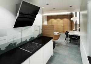 Kuchnia. Panele szklane z industrialnym motywem podkreślają nowoczesny charakter wnętrza.