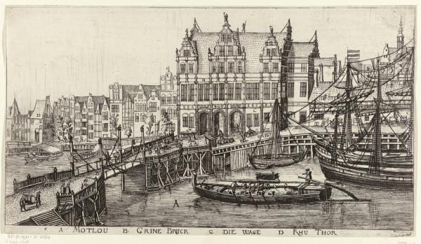 """Rycina """"Most przy Zielonej Bramie"""", której autorem jest Aegidius Dickmann. Karta albumu z widokami Gdańska, rok 1617."""