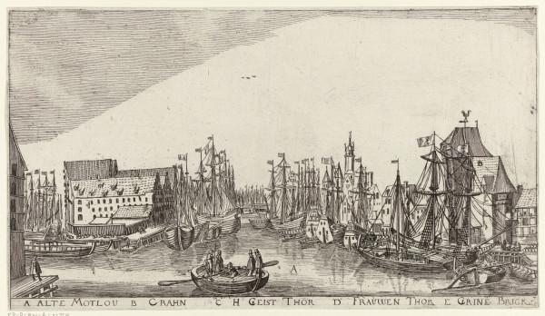"""Rycina """"Stara Motława, Żuraw, Brama św. Ducha, Brama Mariacka, Zielony Most"""", której autorem jest Aegidius Dickmann. Karta albumu z widokami Gdańska, rok 1617."""