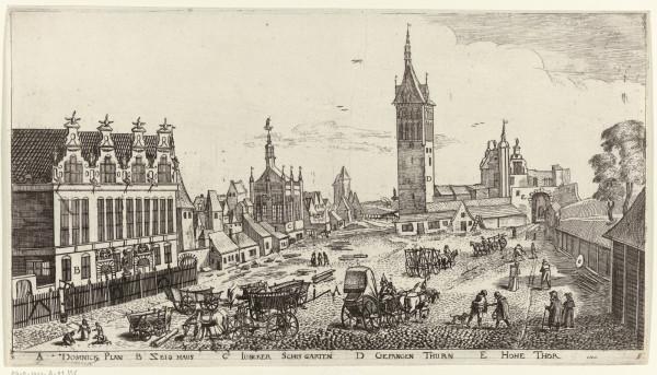 Targ Węglowy z Wieżą Więzienną i Katownią. Karta albumu z widokami Gdańska, rok 1617.