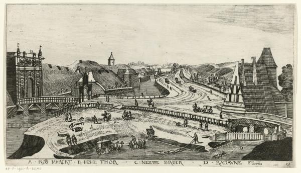 """Rycina """"Okolice Bramy Wyżynnej"""", której autorem jest Aegidius Dickmann. Karta albumu z widokami Gdańska, rok 1617."""