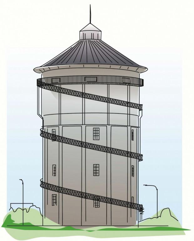 Wizja wieży ciśnień po remoncie, z zainstalowanym na wysokości ok. 20 metrów ogólnodostępnym tarasem widokowym. Koszt rewitalizacji wieży szacuje się na ok.1,2 mln zł.