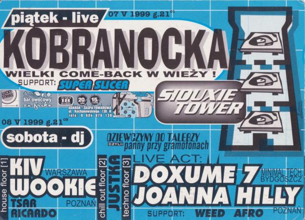 Plakat zapraszający na imprezę taneczną w klubie Siouxie Tower, który pod koniec XX wieku mieścił się w wieży ciśnień w Letnicy.