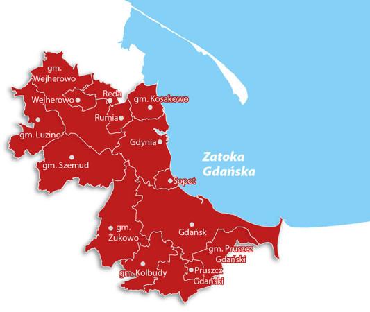 Gminy zrzeszone w MZKZG, w których nowy bilet pozwalałby na przejazdy koleją SKM, PolRegio (w tym na szlaku PKM) oraz lokalnymi przewoźnikami komunikacji miejskiej.