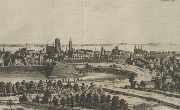 Fragmenty rycin Matthaeusa Deischa z około 1765 roku - widok na akwedukt oraz Targ Konny.