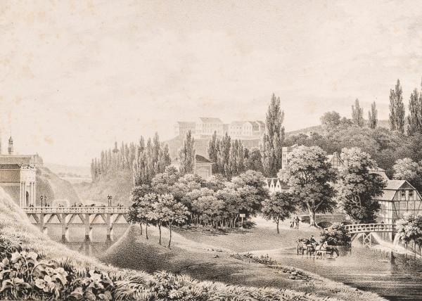 Albert Januchowitz - widok na Biskupią Górkę, 1838 r. Po prawej stronie Koński Wodopój, widoczne drzewa Małego Błędnika.