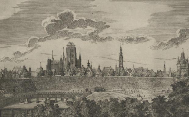 Fragmenty rycin Matthaeusa Deischa z około 1765 roku - widok na akwedukt oraz Targ Konny