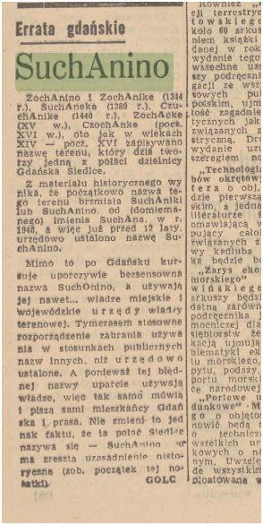 """Fragment artykułu z 1960 roku w """"Dzienniku Bałtyckim"""", którego autor zwraca uwagę na błędne użycie nazwy Suchonino."""