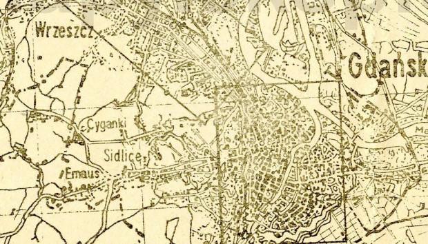 Fragment mapy Gdańska z 1945 r., na której dzisiejsze Suchanino opisano nazwą Cyganki. Ze zbiorów Marka Zielińskiego.