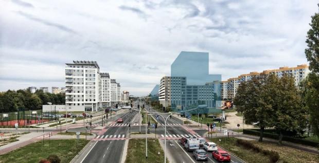 Po prawej zaznaczono obrys planowanej inwestycji w perspektywie al. Jana Pawła II. Warto zwrócić uwagę, że nie odbiega znacząco wysokością od widocznych po lewej stronie budynków.