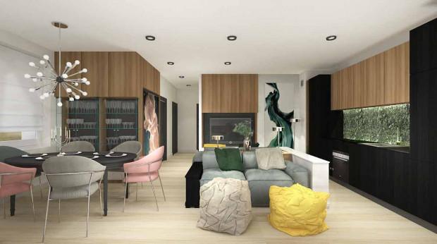 Koncepcja pierwsza. Ten wariant zaprojektowany został dla zwolenników tworzenia w mieszkaniu przytulnej, domowej atmosfery.