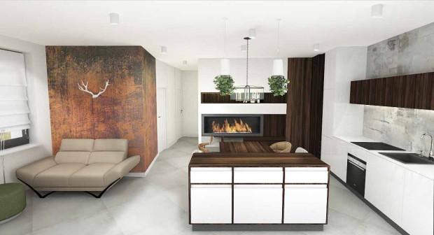 Koncepcja druga, chociaż zawiera sporo drewnianych elementów, które chciał we wnętrzu umieścić jego właściciel, zaprojektowana została dla wielbicieli minimalizmu i prostych rozwiązań.