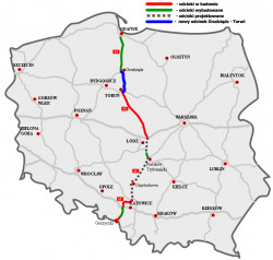 Przebieg autostrady A1 w Polsce.