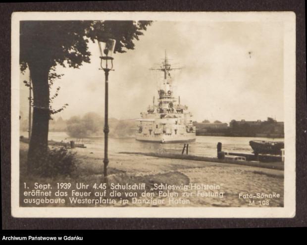 Schleswig-Holstein ostrzeliwujący 1 września 1939 polskie pozycje na Westerplatte.