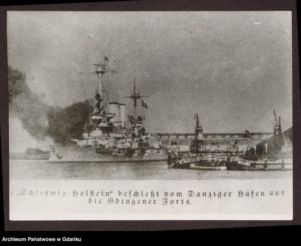 Schleswig-Holstein ostrzeliwujący polskie pozycje w Gdyni z terenu portu w Gdańsku. Pierwsze dni września 1939 r.