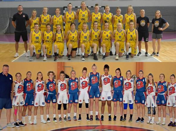 Koszykarki GTK Arki Gdynia (u góry) i Szkoły Gortata Politechniki Gdańskiej (na dole) rywalizują w mistrzostwach Polski U-18.