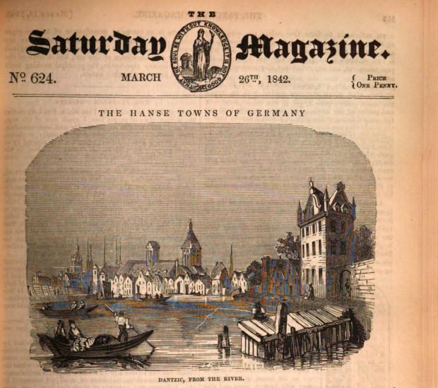 """Fragment okładki pisma """"The Saturday Magazine"""", w którym ukazał się artykuł o Gdańsku. Grafika przedstawiająca miasto widziane z perspektywy Motławy."""