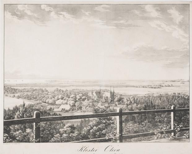Widok Oliwy ze wzgórza Pachołek. W głębi kościół pocysterski, zabudowania klasztorne, pałac biskupi z rozległym parkiem, kościół św. Jakuba oraz parterowe budynki mieszkalne. Na linii horyzontu, za rozległą doliną, statki płynące po Zatoce. Po prawej Gdańsk. Litografia z 1825 r.
