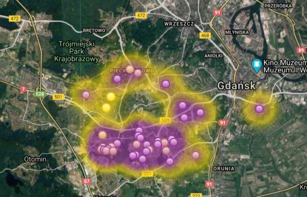 Na Mapie Smrodu mieszkańcy sami zaznaczają, gdzie czuć fetor dobiegający z Szadółek.