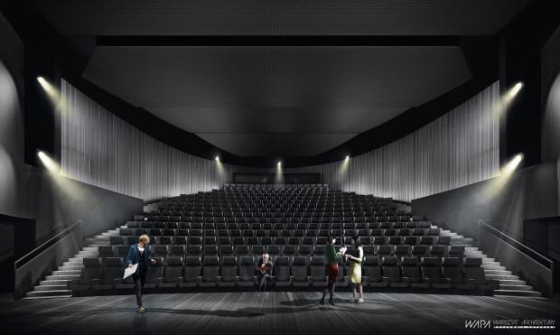 Ostatnim etapem wieloletniego przedsięwzięcia inwestycyjnego mającego na celu poprawę jakości i atrakcyjności infrastruktury Teatru Wybrzeże w Gdańsku będzie modernizacja Dużej Sceny Teatru. Wizualizacja projektu.