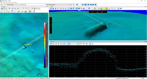 Obraz batymetryczny niebezpiecznego obiektu podwodnego uzyskany na podstawie pomiarów hydrograficznych Urzędu Morskiego w Gdyni w rejonie wejścia na tor wodny na rzece martwa Wisła.