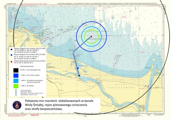 Rejon planowanego zniszczenia oraz strefy bezpieczeństwa.