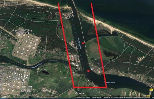 Strefa rażenia odłamkami - trasa holowania obiektów niebezpiecznych w kanale Wisły Śmiałej.