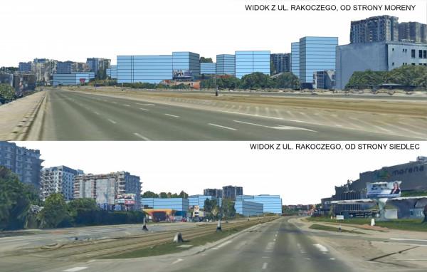 Wizualizacja potencjalnej formy nowej zabudowy zgodnej z projektem planu - widok z ul. Rakoczego.