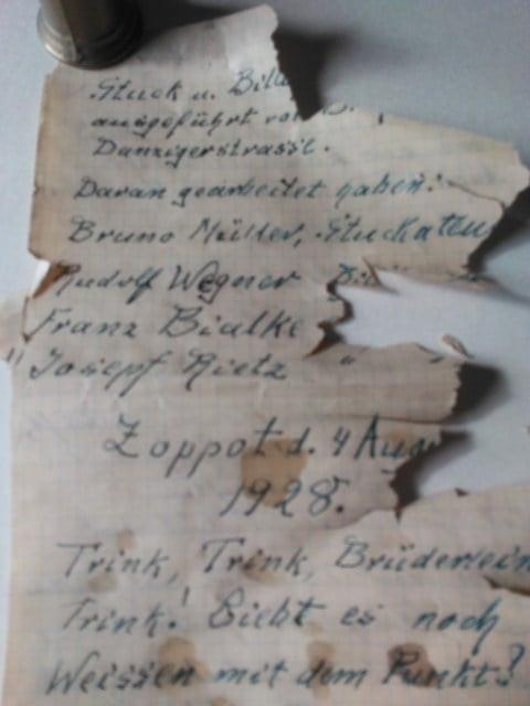 List znaleziony w butelce umieszczonej przy gzymsie remontowanej kapliczki Stella Maris w Sopocie.