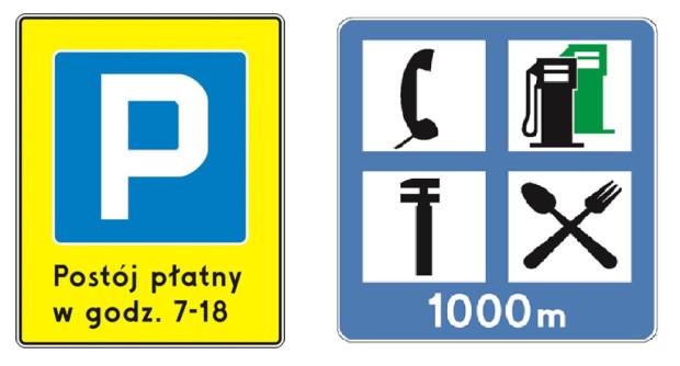 Nowy znak Śródmiejskiej Strefy Płatnego Parkowania oraz wzór zbiorczej tablicy informacyjnej, która będzie mogła być rozbudowana   o informacje o kolejnej stacji paliw.