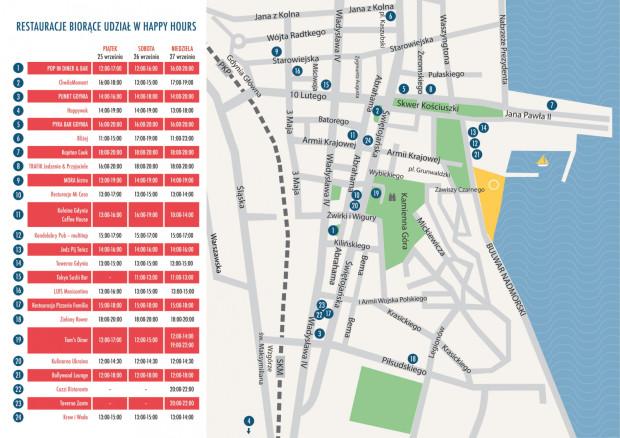 Mapa XII Weekendu Kulinarnego i godziny Happy Hours.