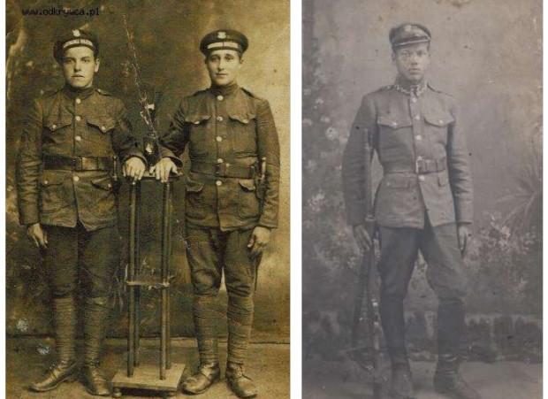 Mundury marynarzy z 1920 roku oraz strzelec graniczny.