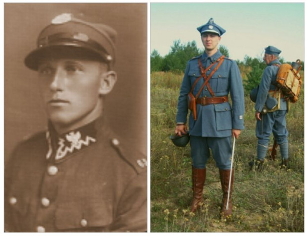 Żołnierz 63 pułku piechoty oraz rekonstruktor w mundurze strzelca kresowego