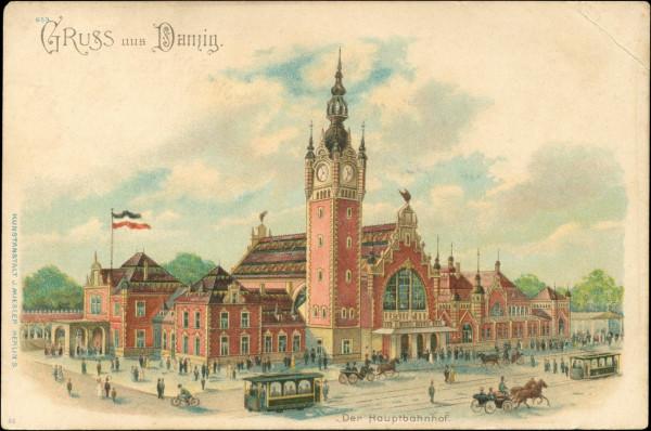 Dworzec na widokówce z 1903 roku z widoczną mozaiką na dachach.