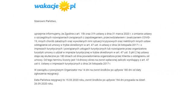Informacja od Wakacje.pl na temat specustawy z podaniem terminu zwrotu moich pieniędzy.