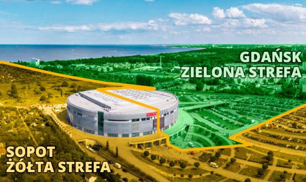 """Choć Ergo Arena znajduje się na granicy Sopotu i Gdańska, organizowane w niej imprezy zgłaszane są od zawsze w Sopocie. Przez najbliższe dni będą w niej respektowane przepisy pandemiczne obowiązujące w strefach """"żółtych""""."""