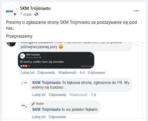 Przedstawiciele SKM Trójmiasto starali się zablokować profil o nazwie łudząco podobnej do oficjalnej, ale jak dotąd się to nie udało.
